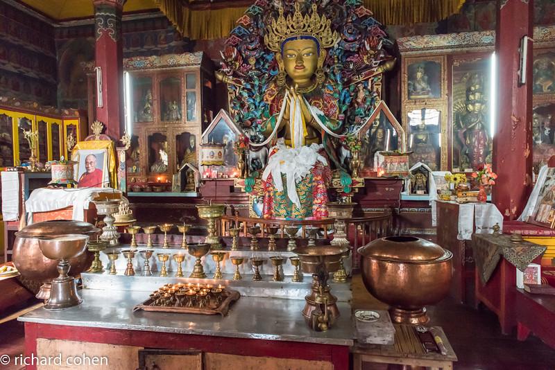 Inside a Buddhist temple.