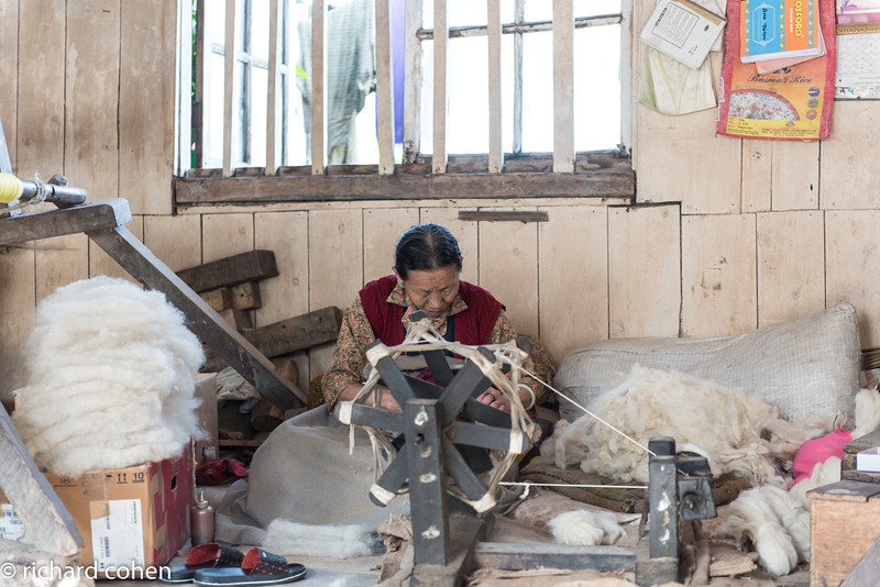 Tibetan woman spinning wool.