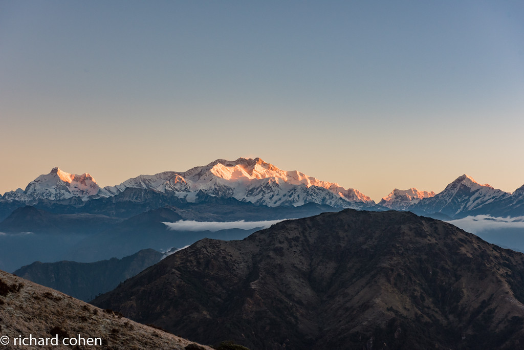 Kanchenjunga from the top of the ridge, right after sunrise.