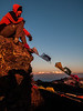 cold, windy sunrise at 13000 feet - From right to left Makalu, Everest, Lhotse and Annapurna
