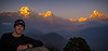 sunset on the Annapurna range from a temple high above Ghandruk village on the Annapurna Sacntuary Trail. From left to right Annapurna South, 2 and Macchapuchre (Fishtail) peaks