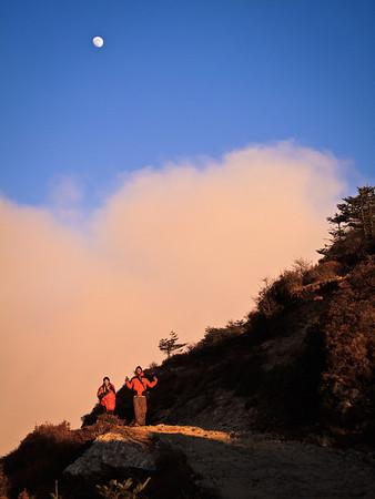 Sunset light on full moon rise at 13000 feet on the Nepali Border