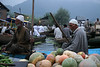 In Srinigar, Kashmir, vegetables are wholesaled every morning at about 6am in the floating vegetable market.