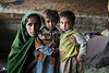 A gypsy woman and children in Kashmir, India