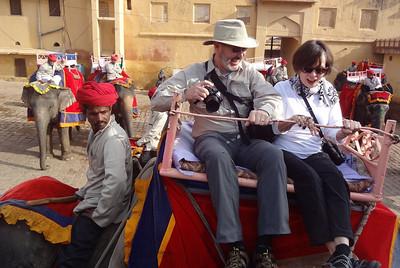 Myron Iwanski shot Lee and Linda on elephant ride to the Amber Fort