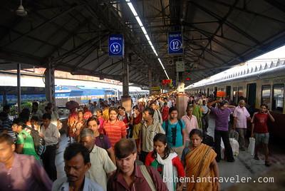 The crowds in Howrah Station, Kolkata, in the morning.