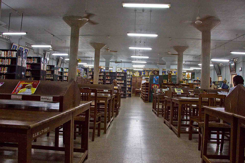 Inside the extensive library of Sri Ramakrishna college. The book collection is extraordinary, covering every imaginable subject, with special focus on religions and the sciences.