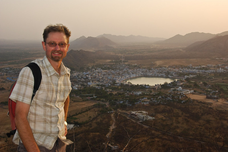 Early morning view over Pushkar from the Savitri Temple.
