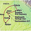 "The route for the Intrepid ""Classic Rajasthan"" tour."
