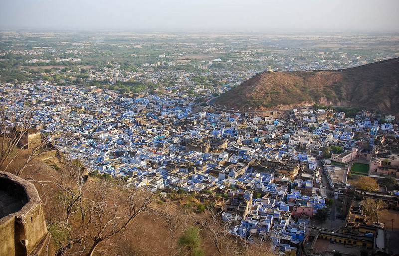 View overlooking Bundi. Houses are painted blue to keep away mosquitoes.