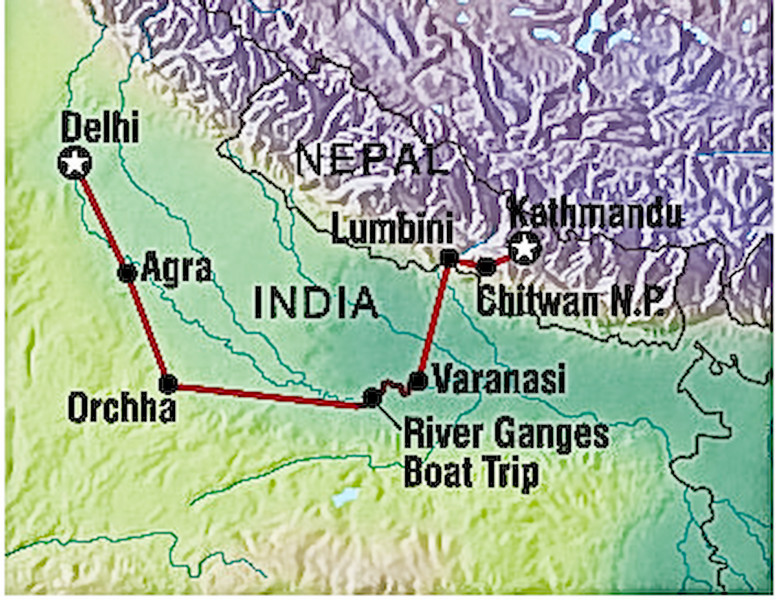 Intrepid tour 'Delhi to Kathmandu' route