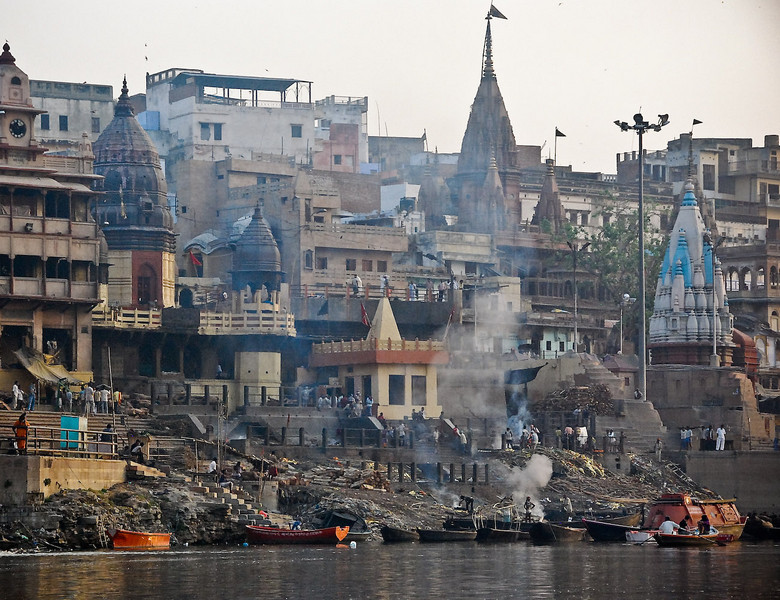 Long distance view of Marnikarnika ghat, the main burning ghat
