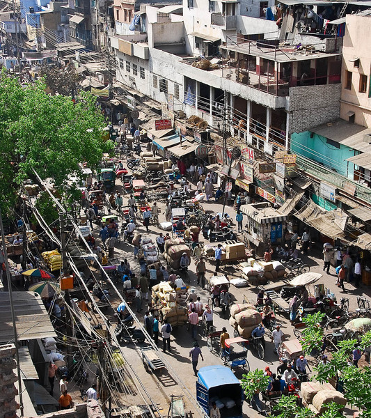 View over Chandi Chowk, main street of Old Delhi.