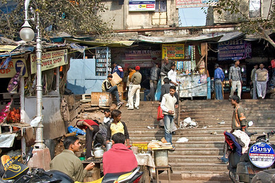 Another image of the Chandni Chowk market in Old Delhi.  I was fascinated that the guys in the foreground are set up on the footpath.  We were forced to walk on the road to avoid them and others set up or parked on the footpath.  Photographed February 2009 - © 2009 Lesley Bray Photography - All Rights Reserved.