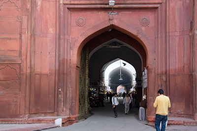 Archway entrance to a domed arcade at the Red Fort, Chandni Chowk, Old Delhi.  The arcade houses an interesting bazaar, Chatta Chowk, or Meena Bazar, containing specialty shops for the unsuspecting tourist.  This is the first under cover market to be built in India.  Photographed February 2009 - © 2009 Lesley Bray Photography - All Rights Reserved.
