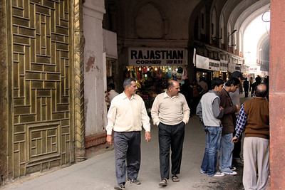 Inside the Chatta Chowk or Meena Bazar at the Red Fort, Chandni Chowk, Old Delhi.  I found the old copper work on the wall very interesting.  Photographed February 2009 - © 2009 Lesley Bray Photography - All Rights Reserved.