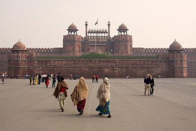 Finally reached out destination, the Red Fort, Lal Qila, at Chandni Chowk, Old Delhi.  Ahead are the main entrance, the Lahore Gate.  Photographed February 2009 - © 2009 Lesley Bray Photography - All Rights Reserved.