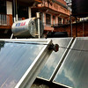 Solar water heating system on the roof of the guest house.