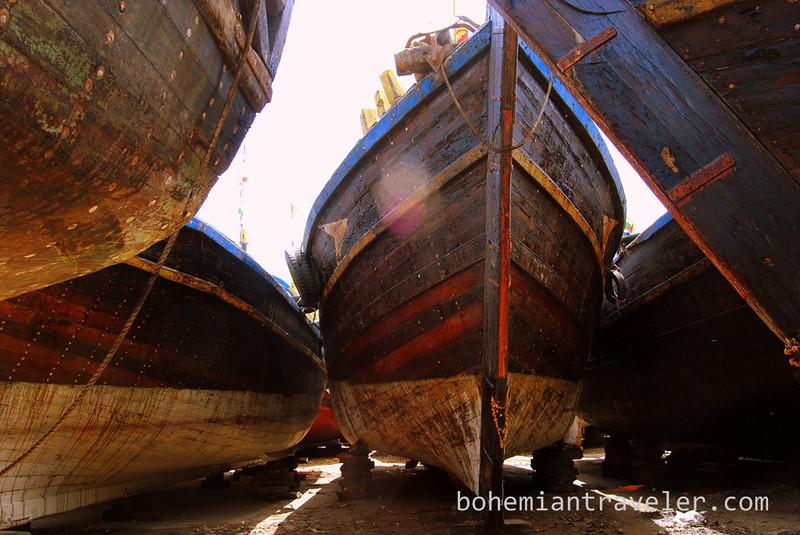 Boats on dry dock near Vanabara, Diu