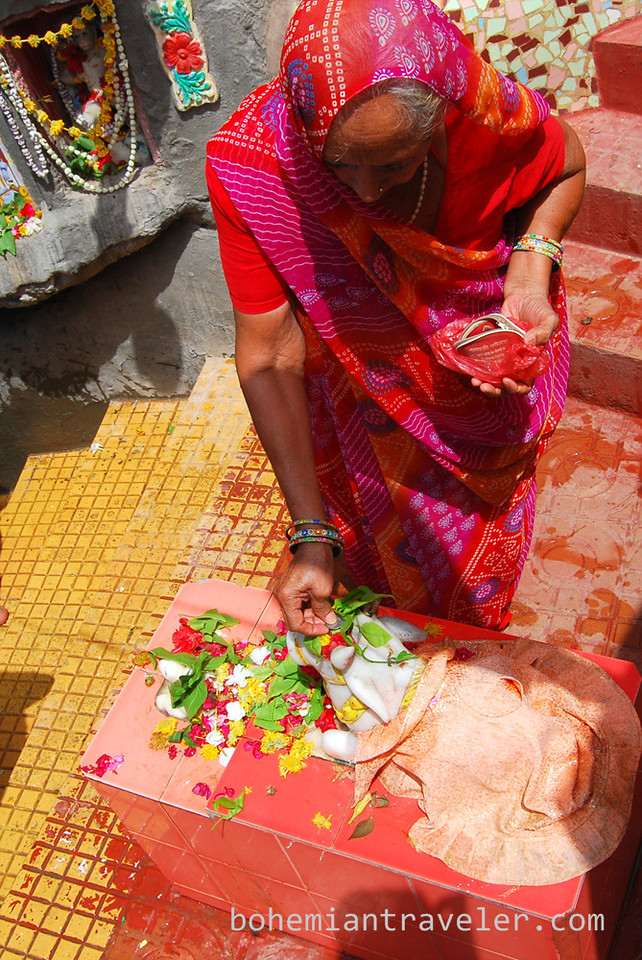 Making an offering at Gangeswar Temple