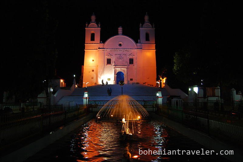 St Thomas church at night Diu India.