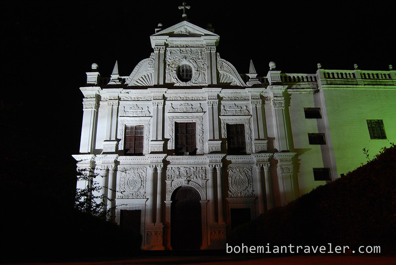 St Paul's Church at night in Diu.