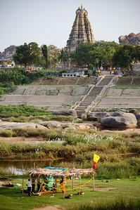 Virupaksha Temple in Hampi Town from the opposite side of Tungabhadra River