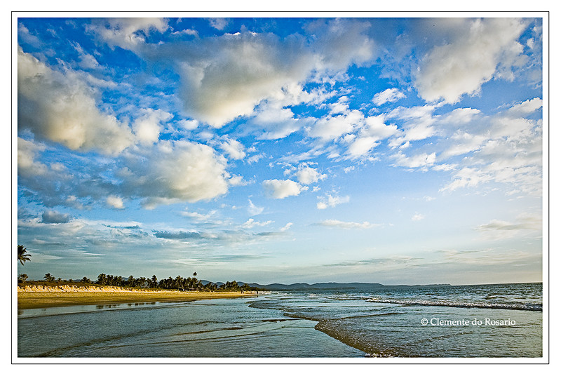 Cumulus clouds over Varca Beach, Goa, India