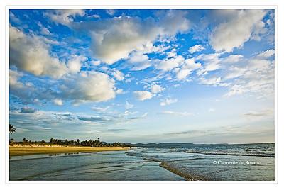 Cumulus clouds over Varca Beach, Goa, India