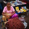 Goan Sausages on sale  at the Mapusa Friday Market, North Goa, India