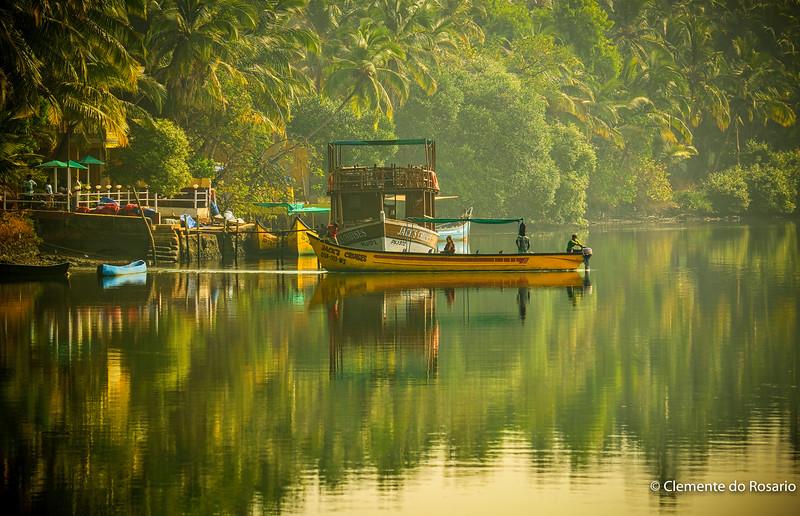 Serene moment at dawn, River Sal, Mobor, South Goa