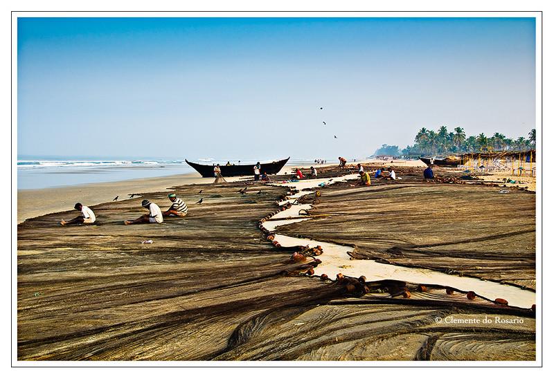 Traditional Goan Fishing Nets on Varca Beach, Goa, India