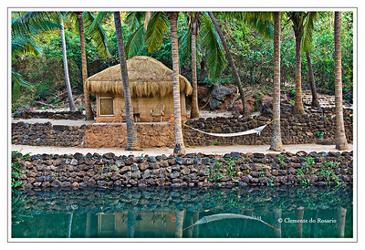 Cottage with a hammock at a resort on Cola  Beach, Canacona, South Goa, India