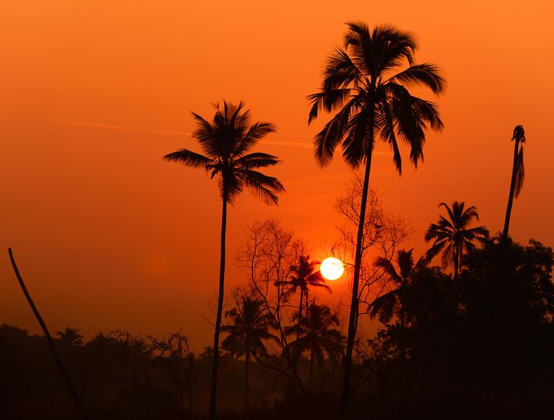 Sunrise in Tamborim village in Cavelossim, Salcette Goa, India