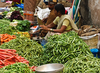 Vegetables on sale at the Mupusa Friday Market, Goa, India