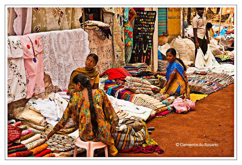 Colourful Indian fabrics for sale at the Anjuna Flea Market, Goa
