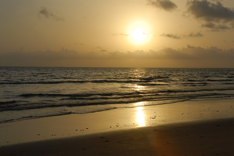 Sunset on the Goan beach.