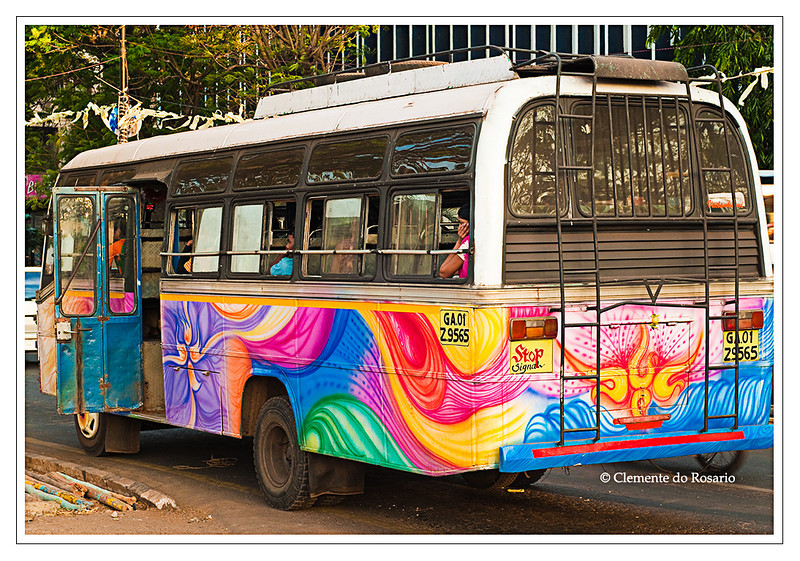 Colourful Indian Commuter Bus in Panaji, Goa, India