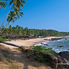 A view of secluded Cola Beach in Canacona, South Goa, India.