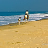 Horse riding along Varca Beach, South Goa, India