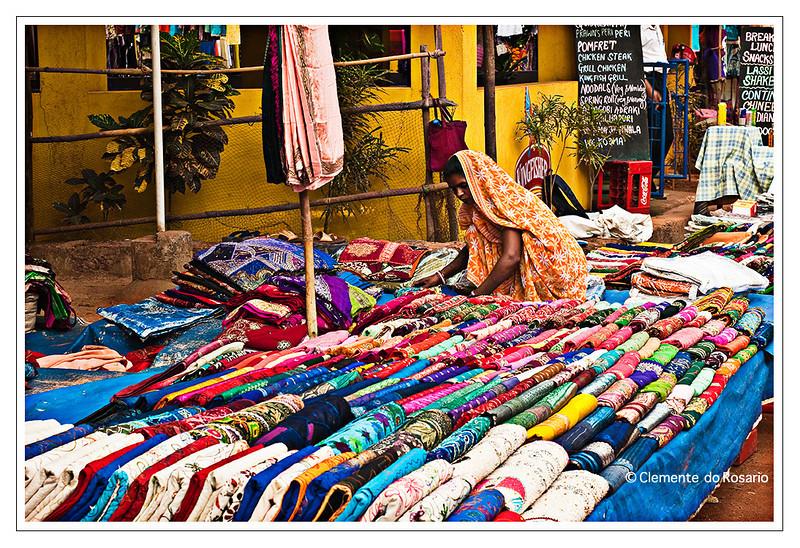 Colourful Indian fabric  at the Anjuna Flea Market, Goa