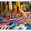 Colourful Indian fabric  at the Anjuna Flea Market, Goa