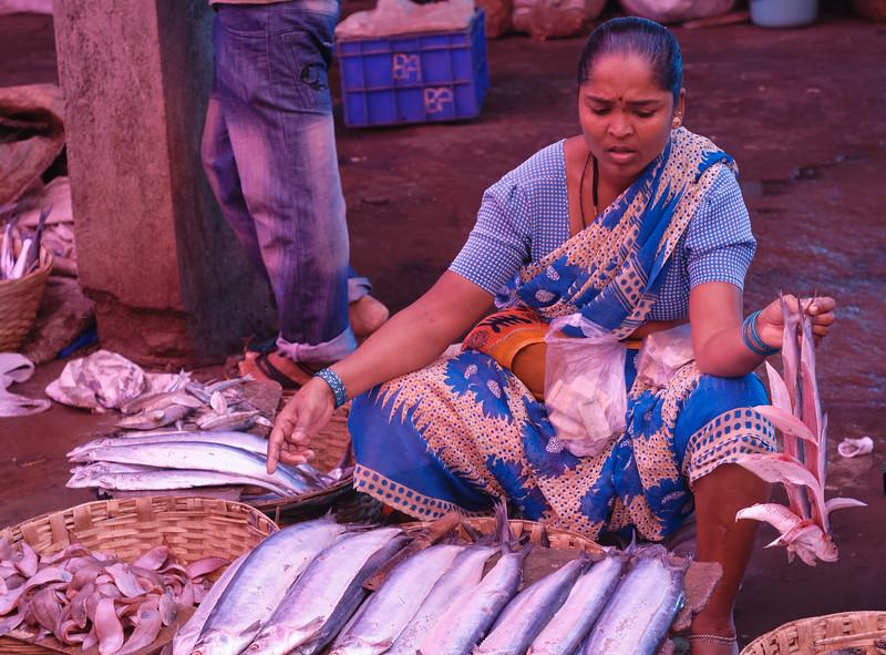Fishmonger at the Mupusa Friday Market, Goa, India