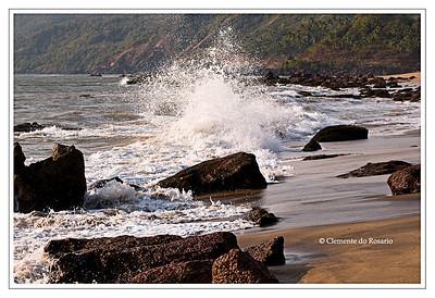 Crashing waves at  Cola Beach in Canacona, South Goa, India