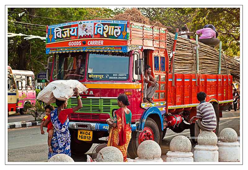 Indian Goods Delivery Truck and Indian women workers