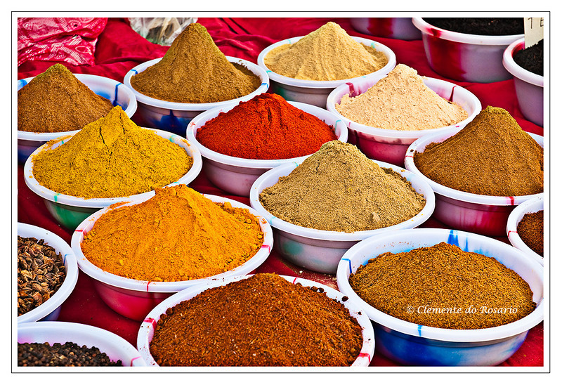 Colourful Indian spices at the Anjuna Flea Market, Goa