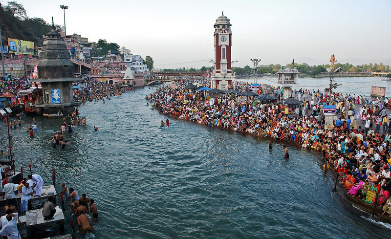 Crowds gathering for the Ganga Arati ceremony