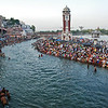 Crowds gathering for the Ganga Arati ceremony