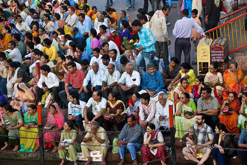 Crowds getting a place for the start of the Ganga Arati ceremony.
