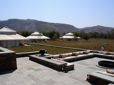 This is Aman's Resort near the Ranthambhore tiger reserve.  Aman-i-khas was only open for a couple of months, and we were among its first guests.  In fact, only one other guest was at the resort for the three nights we were there.  The resort is small with only six tents for guests.